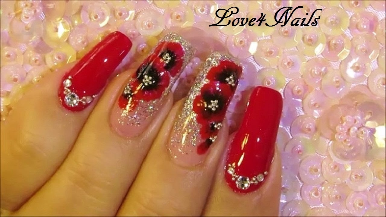 Red Crystal Sparkly December Nails