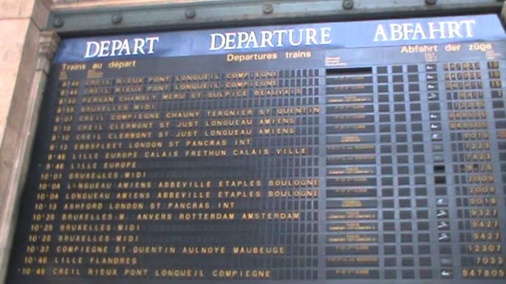 solari board at gare du nord train station in paris