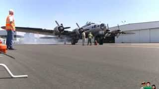 Boeing B-17 Flying Fortress Engine Start, Take Off, Landing, Taxing