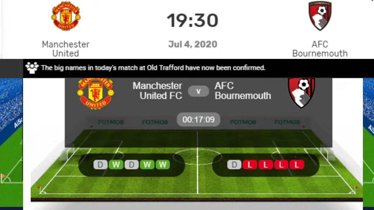 Bournemouth vs Manchester United Live, Premier League Manchester Utd vs Bournemouth Live Streaming
