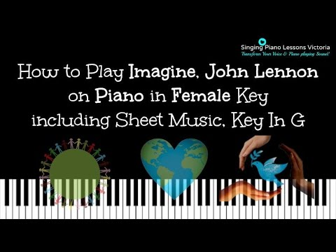 How to Play Imagine, John Lennon on Piano in Female Key including Sheet Music, Key In G