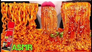 ASMR NUCLEAR FIRE SPICY NOODLES, ENOKI MUSHROOMS 핵불닭 팽이버섯, 불닭볶음면 먹방 EATING SOUNDS