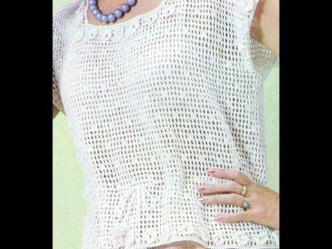 Patrón Para tejer Blusa calada Con Mini Flores a Crochet - YouTube