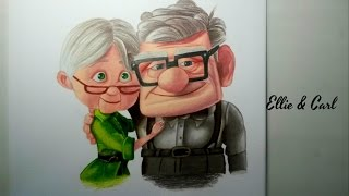 "Drawing Ellie and Carl (from ""Up"")"