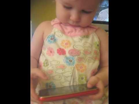 Dagmar plays with iPhone