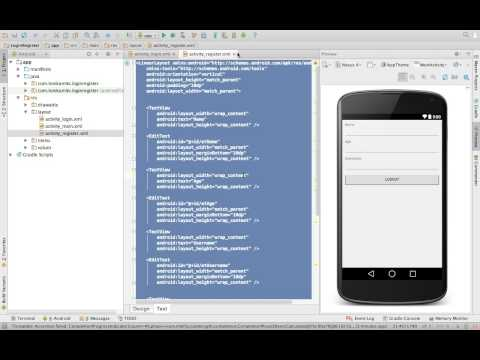 Android Studio Tutorial - Login and Register Part 1 - User Interface