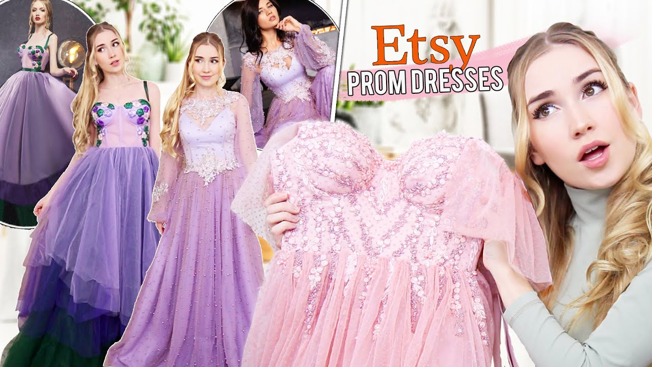 TRYING ON ETSY PROM DRESSES   most beautiful dresses ever