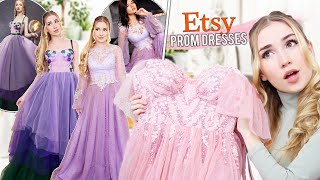 TRYING ON ETSY PROM DRESSES !! * most beautiful dresses ever *