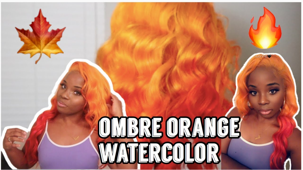 Fall Inspired Ombre Orange Hair Tutorial | Water Color method