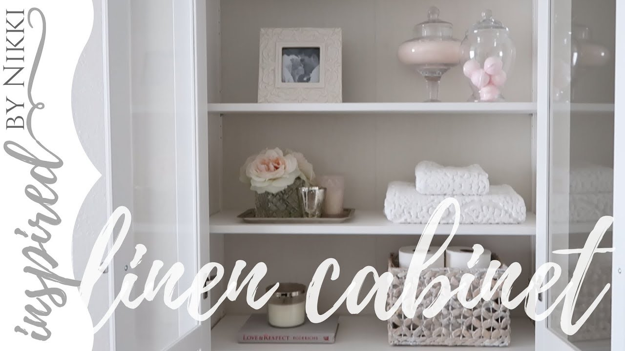 Linen Cabinet Styling | Simple Organization | IKEA Glass Door Cabinet