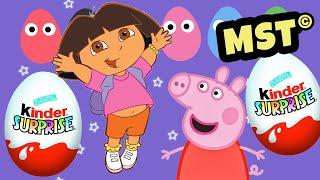 Kinder Surprise Eggs Play Doh Peppa Pig Dora the explorer [MST]