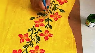 DIY : Free Hand Painted Panel Design on Kurti / Sarees / Tops | Fabric Painting