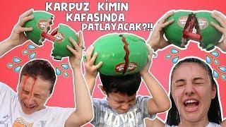 Karpuz ödüllü Watermelon Smash Challenge! Karpuz Kimin Kafasında Patlayacak? BidünyaOyuncak