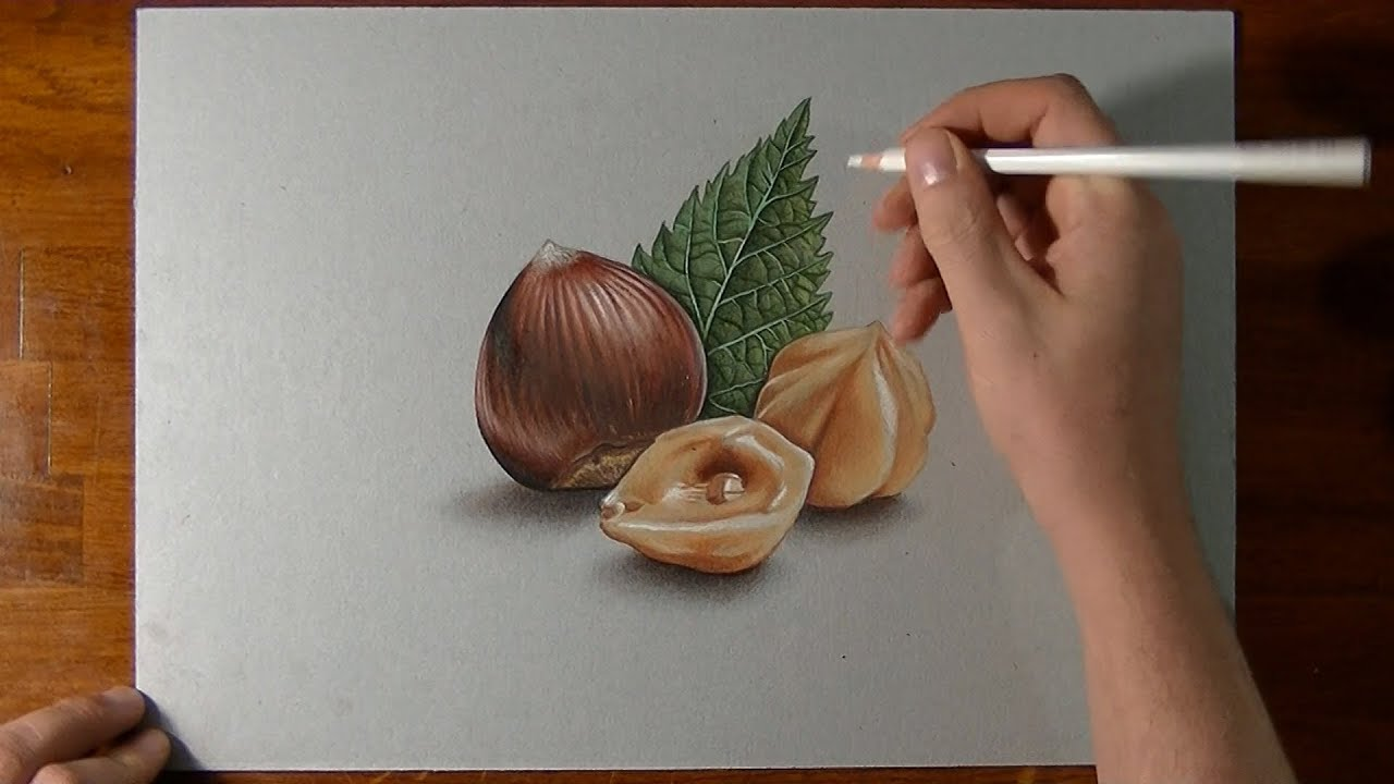 Drawing Time Lapse Hazelnuts Hyperrealistic Art Youtube