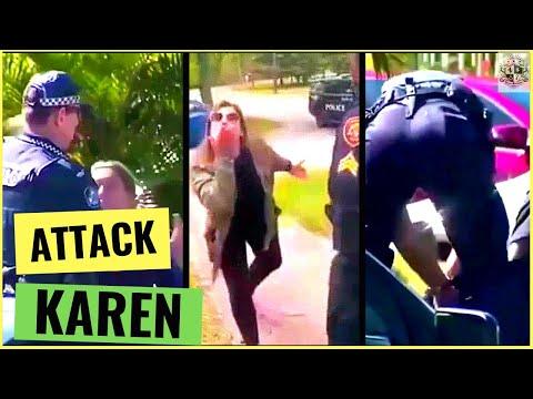 Karen throws dog s**t at cops and gets arrested (Karen moons the cops)