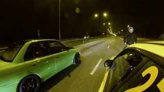 Subaru Impreza WRX STI vs Mitsubishi Lancer Evo 2 illegal drag race