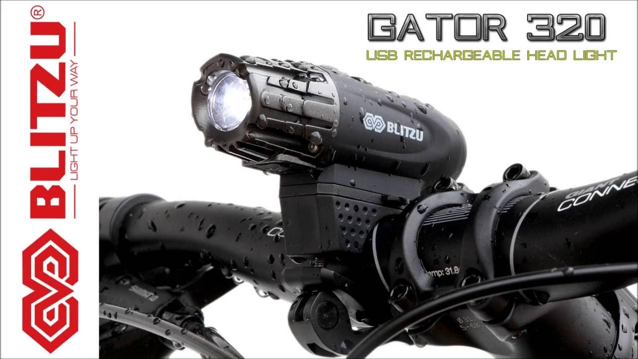 Blitzu Gator 320 PRO USB Rechargeable Bike Light Set POWERFUL Lumens Bicycle
