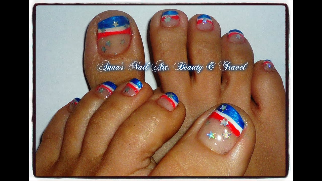 Red white blue toe nail design youtube prinsesfo Image collections