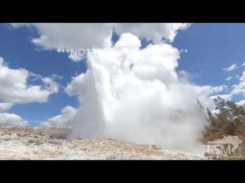 06-13-2019 Yellowstone National Park, WY - Steamboat Geyser Eruption Rock Hitting