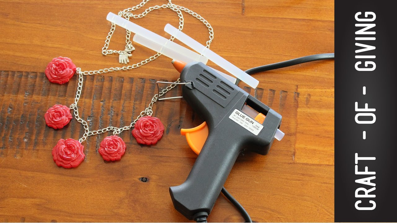 Diy hot glue gun rose necklace craft of giving youtube for Hot glue guns for crafts