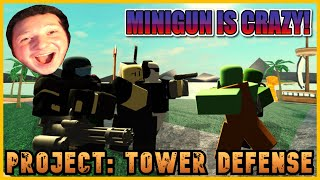 NEW GAME!! PROJECT TOWER DEFENSE BETA!!😱MINIGUN OP!!