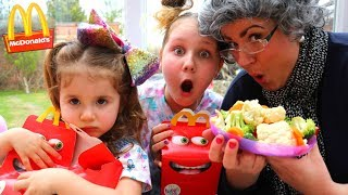 McDonald's drive thru Greedy Granny Joke on Kids with Vegetables! Pretend Play