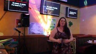 Karaoke Host Amber singing Bound To You by Christina Aguilara