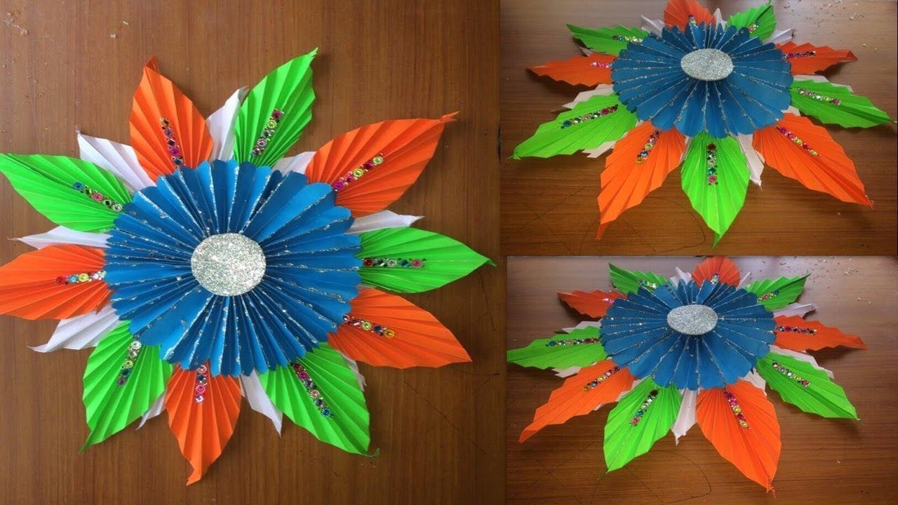 15 August Decoration Ideas For School Ganesha Backdrop Decoration Of Origami Flowers Ideas Youtube