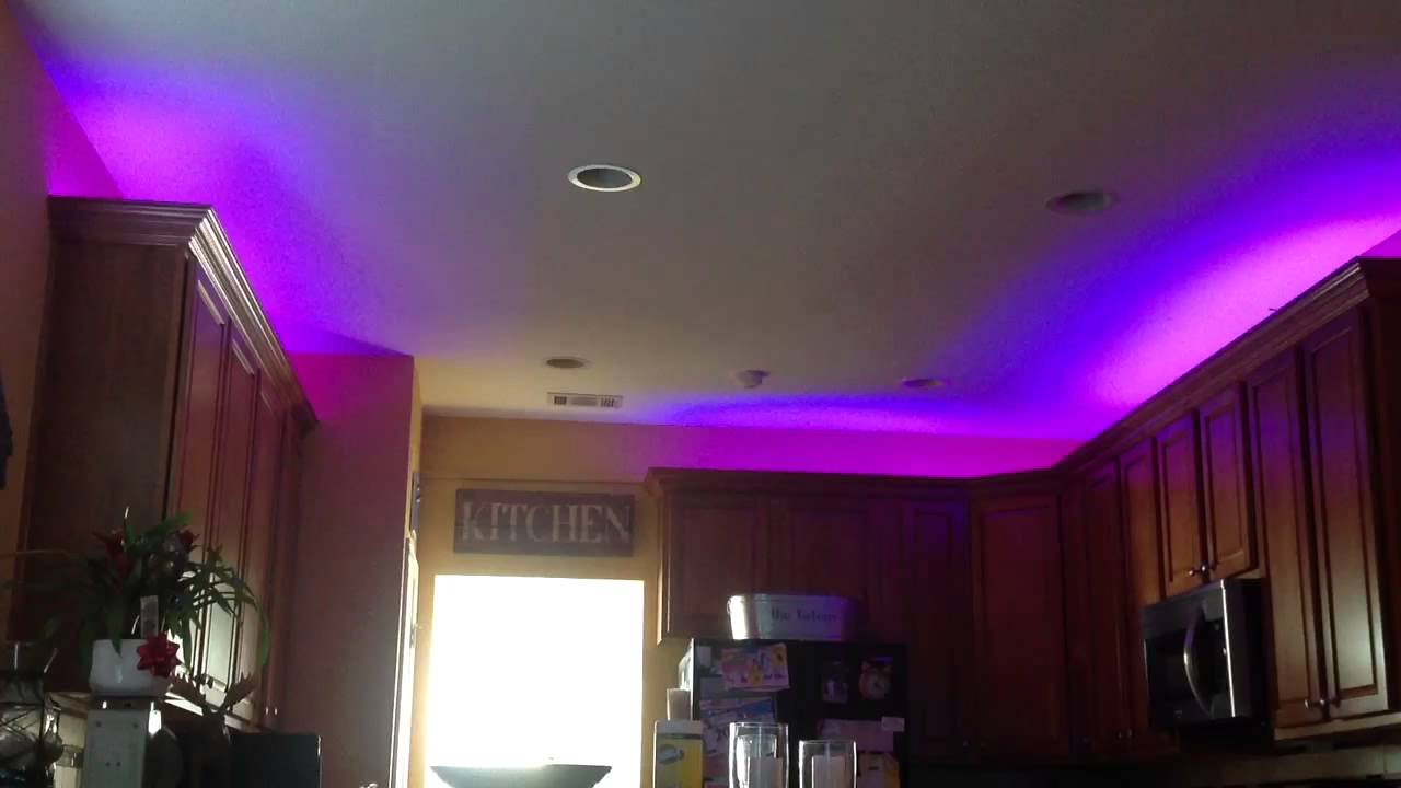 Led strip lights over kitchen cabinets youtube aloadofball Choice Image
