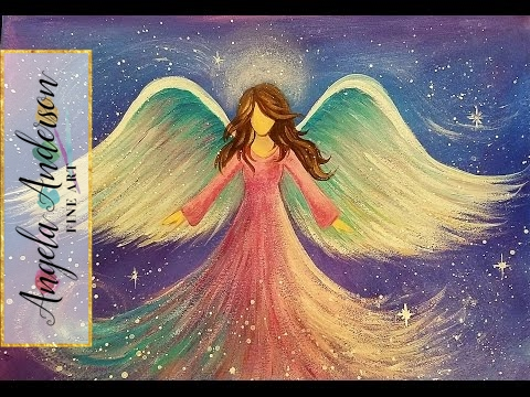 ANGEL Acrylic Painting Easy Step By Beginner Tutorial LIVE