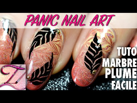 panic nail art tuto d grad marbr et plume facile et rapide youtube. Black Bedroom Furniture Sets. Home Design Ideas