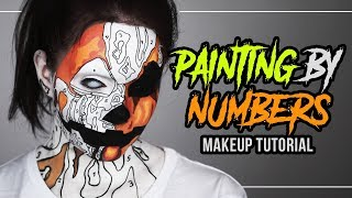 MALEN NACH ZAHLEN 🎃 Painting By Numbers - Halloween Makeup Tutorial (deutsch) #spooktober