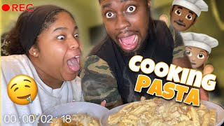 EASY CHICKEN SHRIMP AND SAUSAGE PASTA RECIPE  COOKING WITH BAE