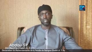 Déclaration et remerciements de la famille de Cheikh A  t Sy