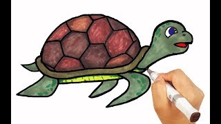 How to Draw Turtle | Drawing with Colored Markers Learn Names for kids