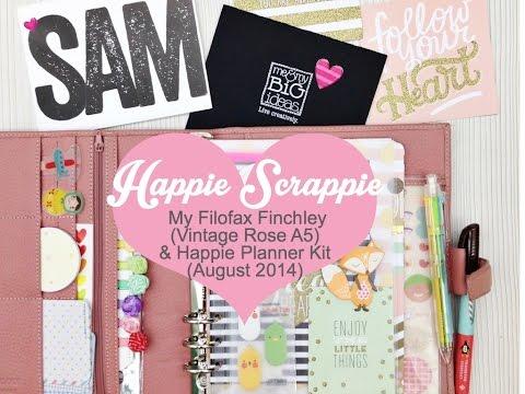 Filofax Finchley Vintage Rose, Kikki K Daytimer Lilac & Happie Planner August 2014