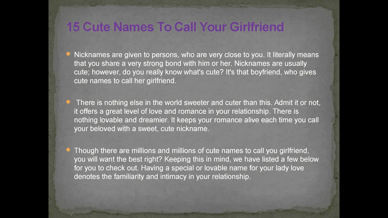 To Names Girlfriend Your Sweet Romantic Call