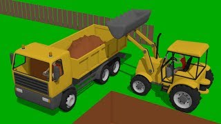 Yellow Construction Machines and Construction of a backyard pool - excavators for Kids - Bajki