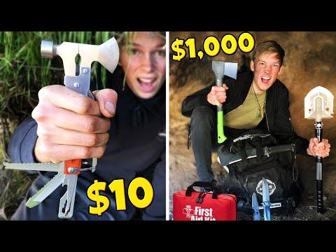 $10 VS $1000 SURVIVAL KIT CHALLENGE! *BUILD SHELTER TO SURVIVE*