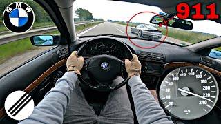 1998 BMW E39 528i TOP SPEED DRIVE ON GERMAN AUTOBAHN 🏎