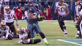 Marshawn Lynch best run in playoff history- 67 yard TD run vs Saints
