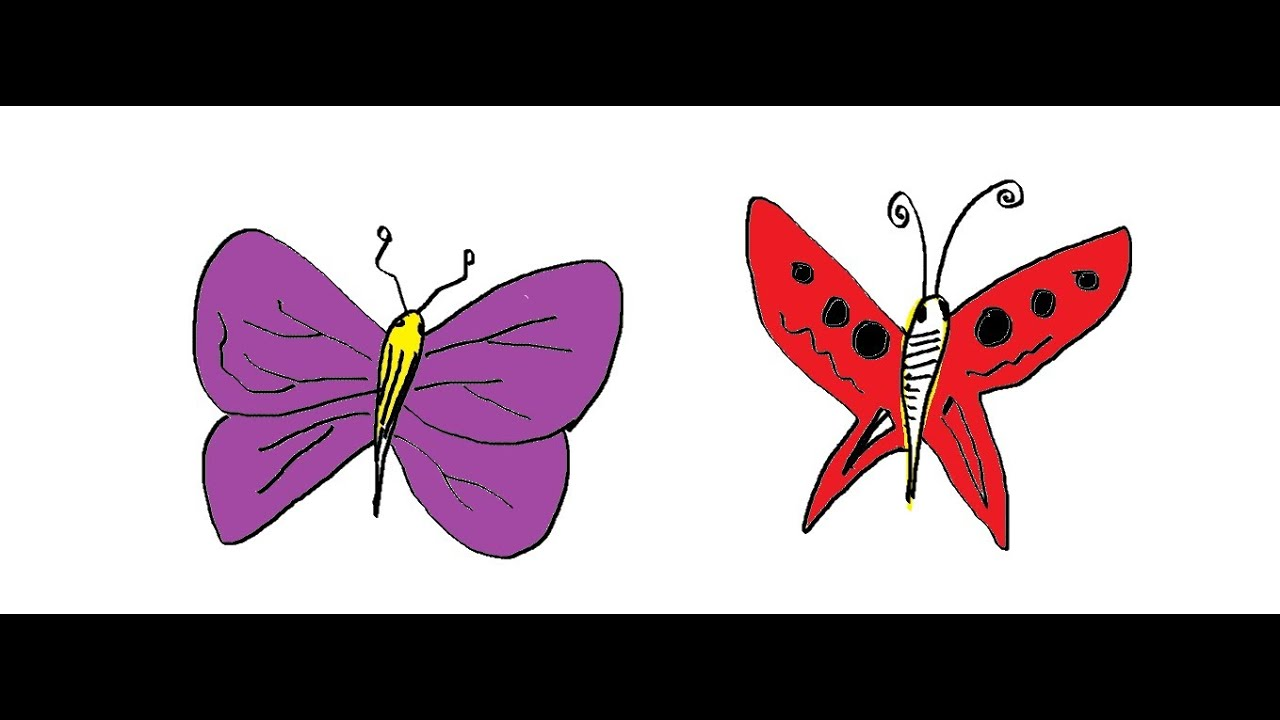 Easy kids drawing lessons how to draw cartoon butterfly