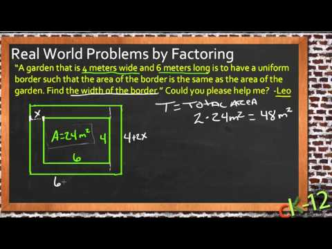 Real World Problems by Factoring: An Application (Algebra I) - YouTube
