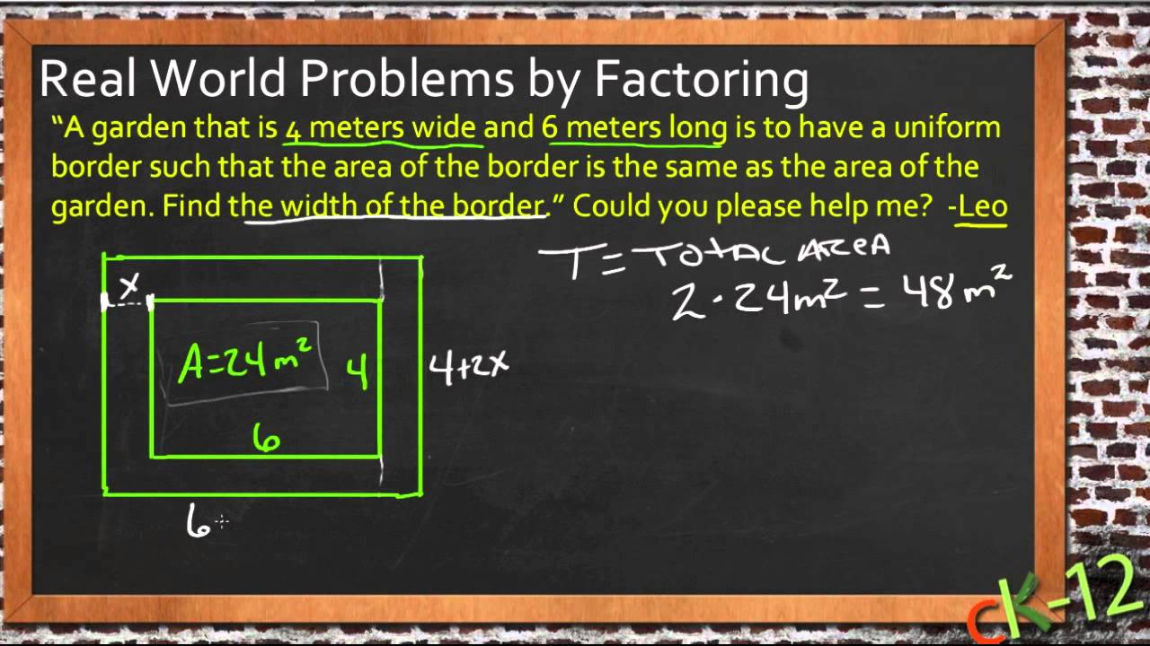 Real World Problems By Factoring An Application Algebra I Youtube