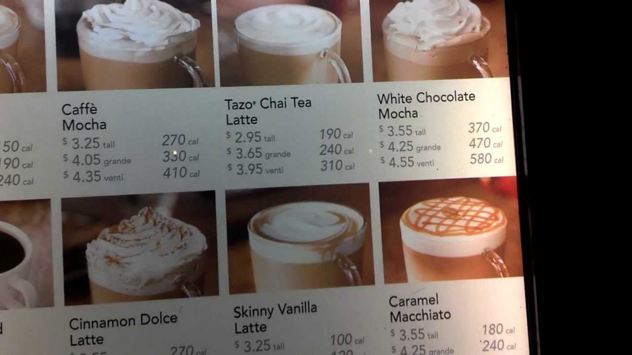 Starbucks Menu With Prices Calories In 1080p Hd