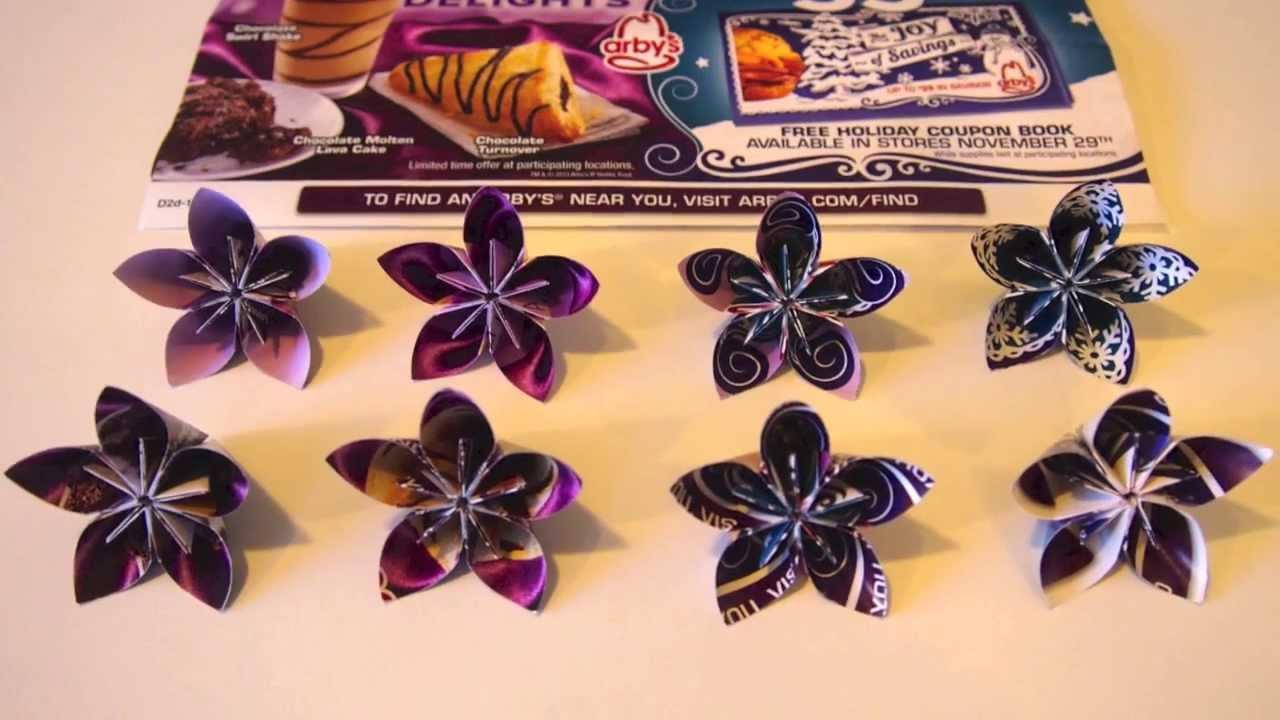 Origami Kusudama Flowers 001 Using Recycled Paper Youtube
