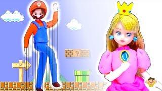 リカちゃん 粘土で衣装を手作り❤マリオとピーチ姫のドレスをDIY⭐変身して救出しよう♪おもちゃ 人形 アニメ thumbnail
