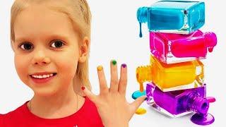 Vita pretend play with magic nail polish colors