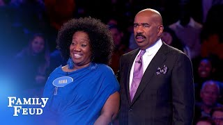 Can Nina pull off a big comeback on Fast Money? | Family Feud