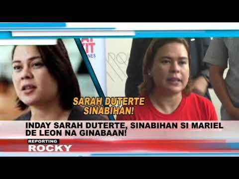 INDAY SARAH DUTERTE, SINABIHAN SI MARIEL DE LEON NA GINABAAN!